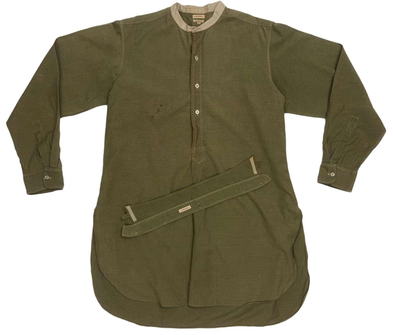 Original WW2 British Army Officers Collarless Shirt + Collar