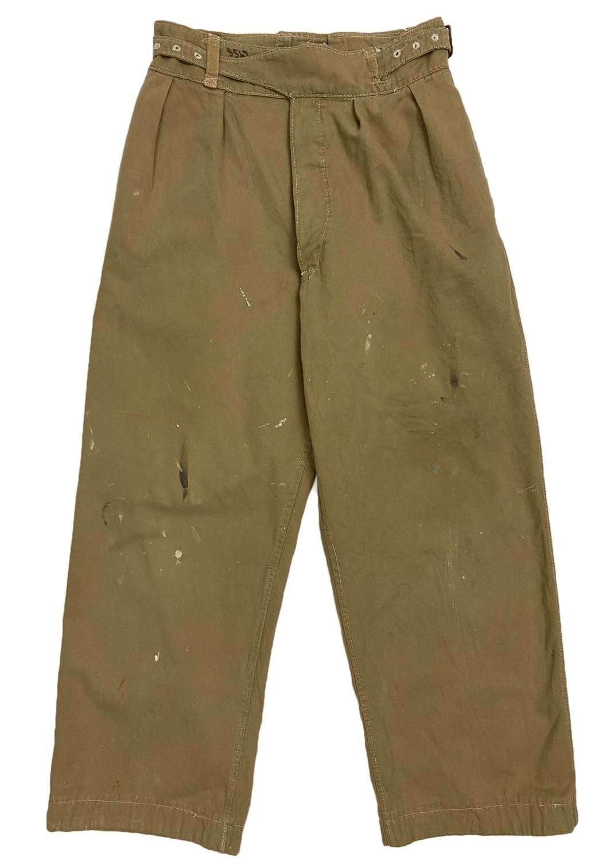 Rare Original 1945 Dated British Khaki Drill Trousers - Size 11