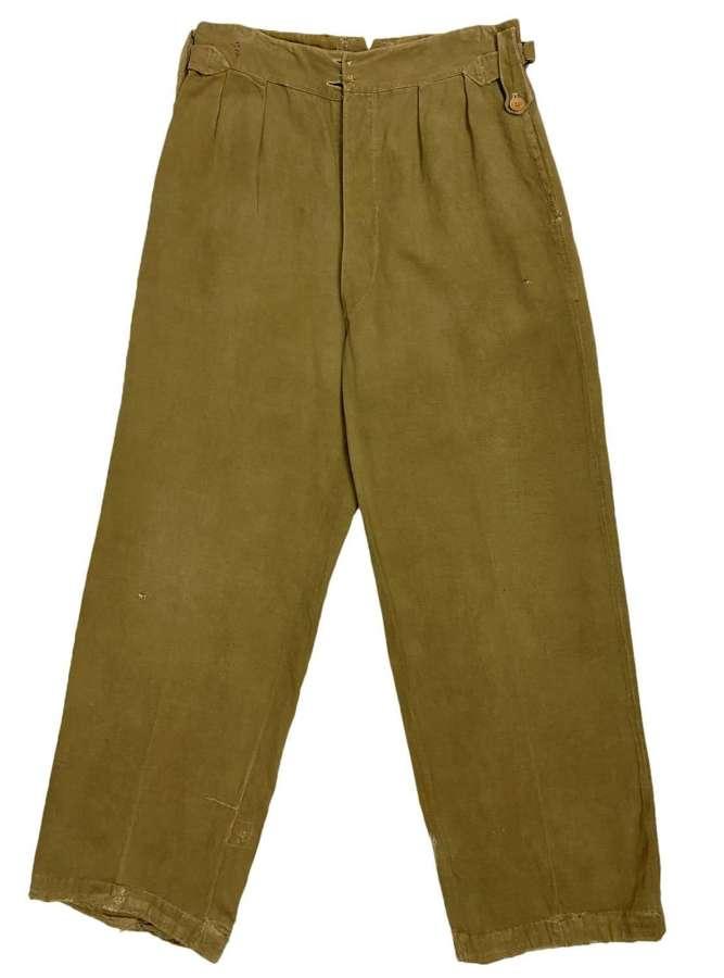 Original 1940s British Khaki Drill Trousers - 30 x 29