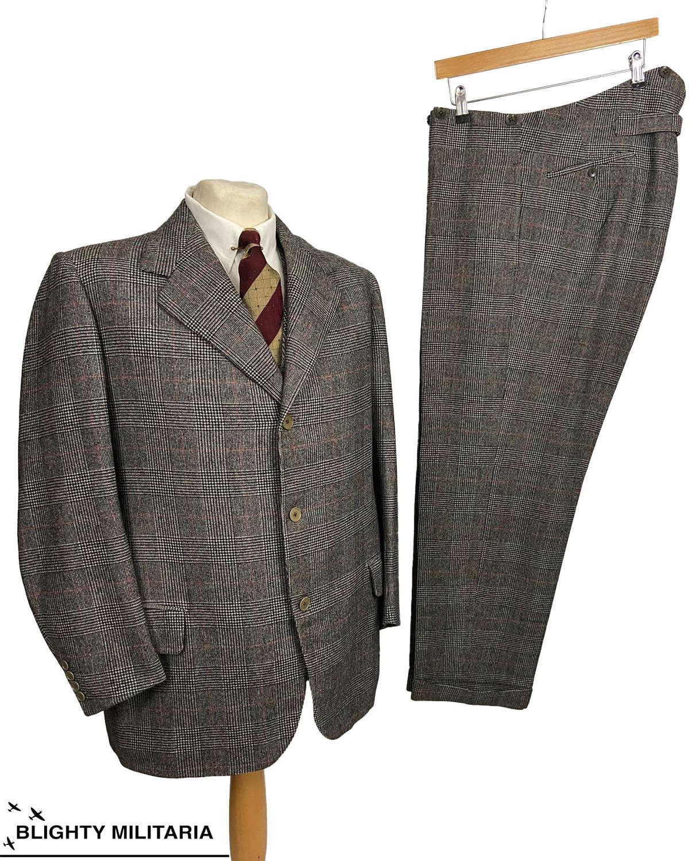 Stunning Original 1941 Dated Bespoke Prince of Wales Three Piece Suit