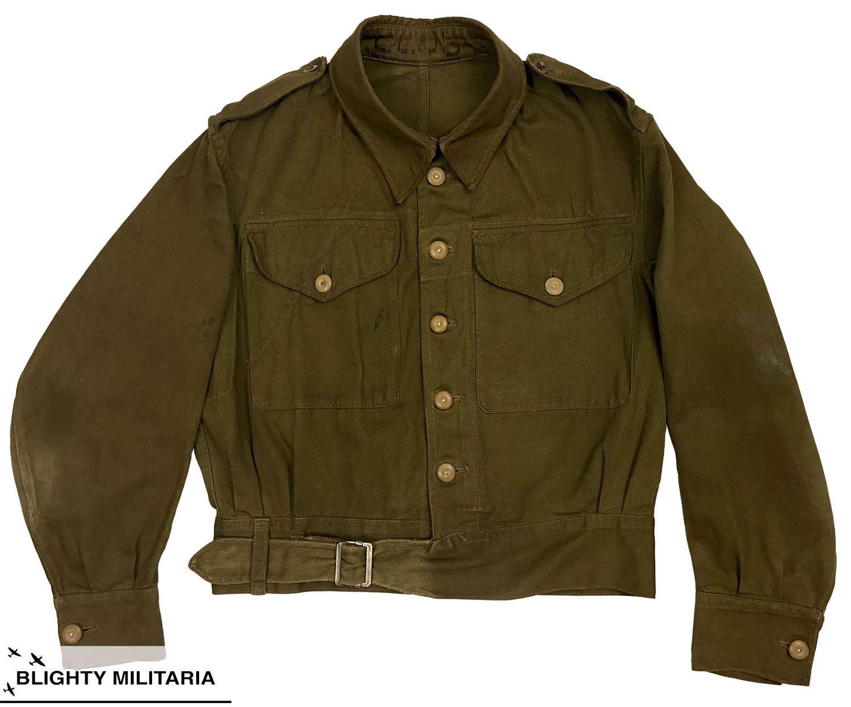 Original 1944 Dated British Army Drill Battledress Blouse - Size 4