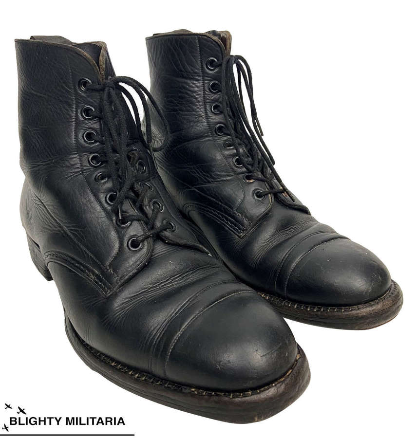 Original WW2 Royal Marines Officers Black Leather Ankle Boots - Size 8