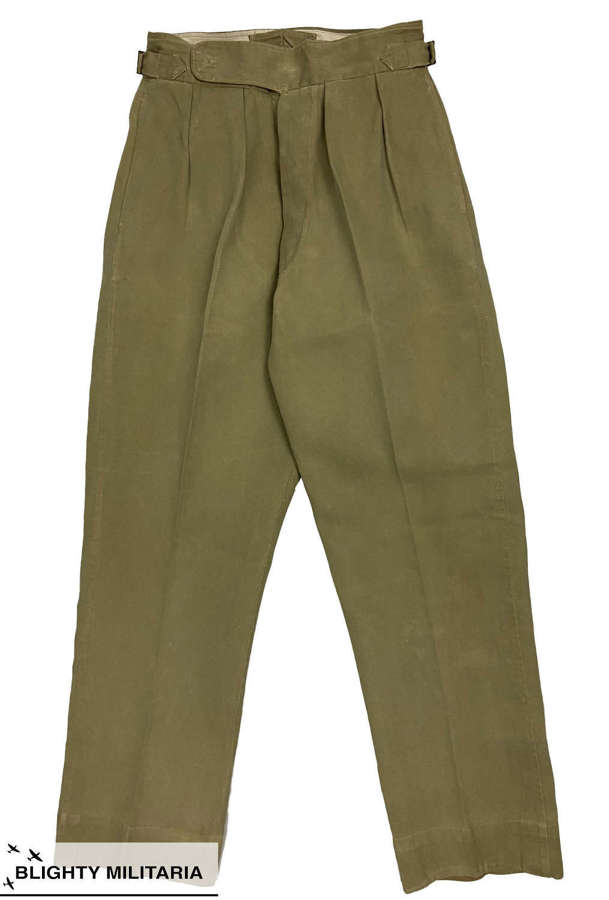 Original 1950s British Army Officers Khaki Drill Trousers