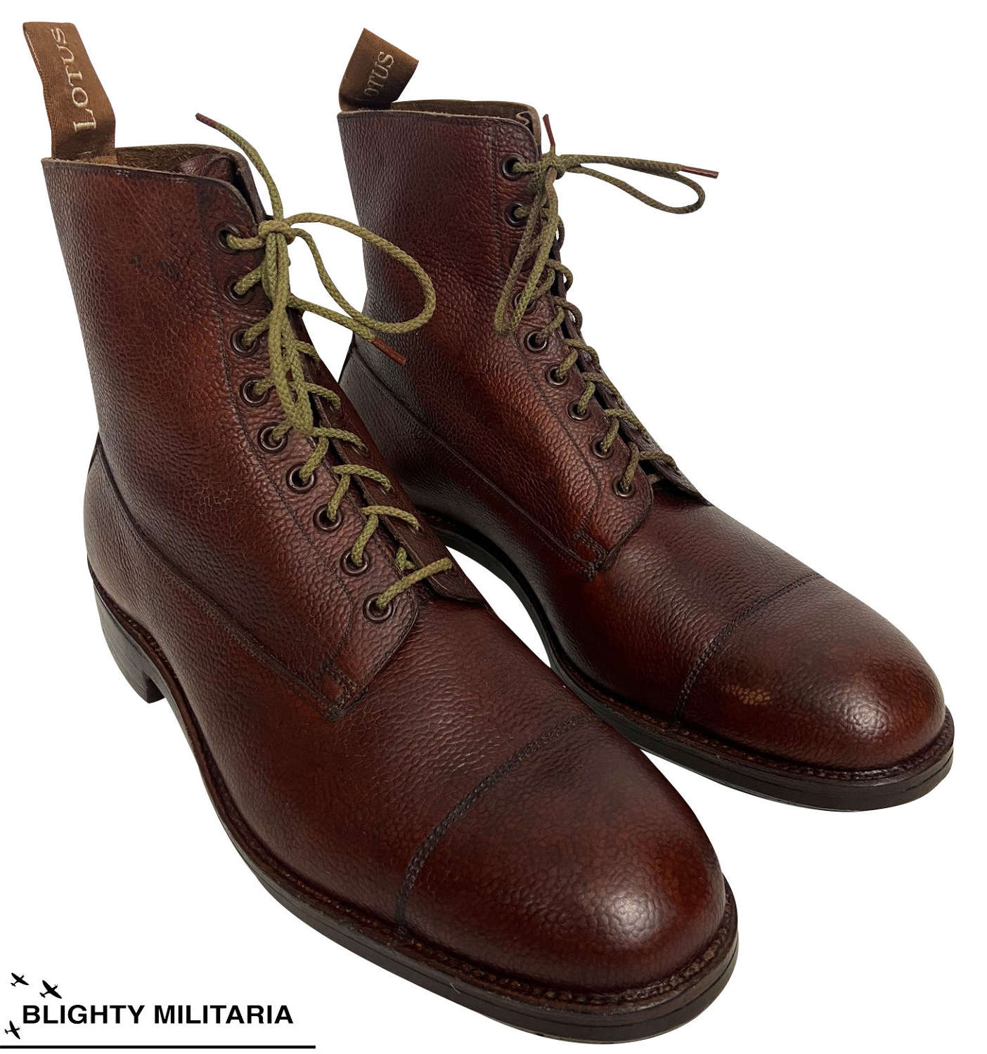 Original 1940s Men's Brown Leather Ankle Boots by 'Lotus' - SIze 10