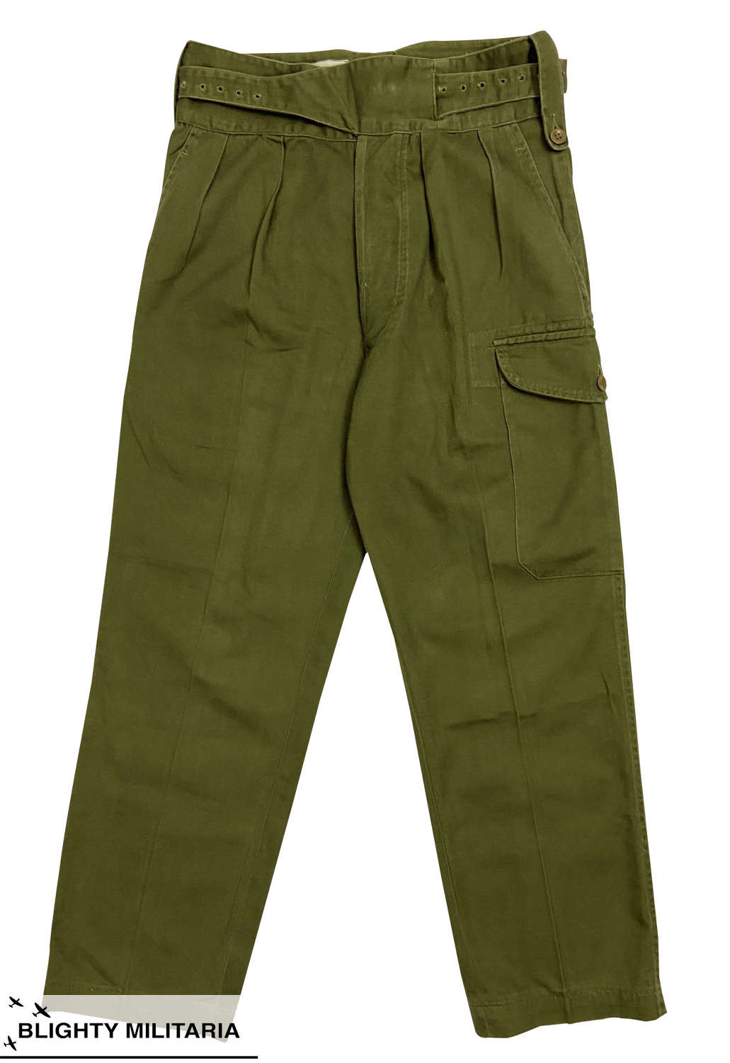 Original 1971 Dated 1960 Pattern Drill Green Trousers