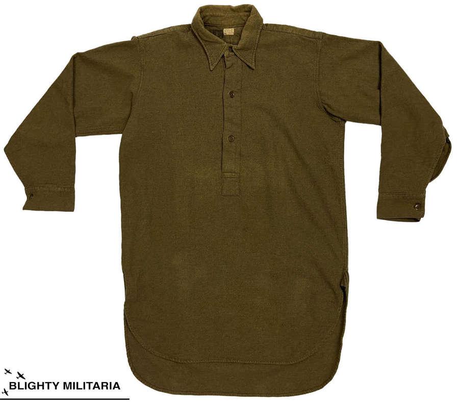 Original 1945 Dated British Army Ordinary Ranks Collared Shirt Size 6