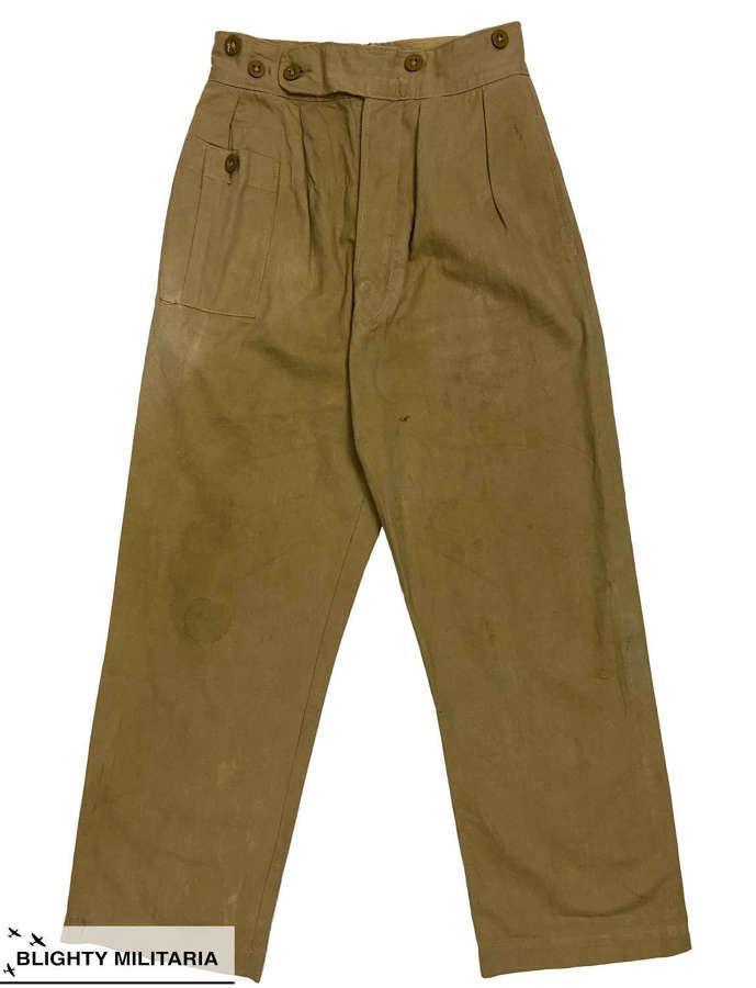 Original 1948 Dated 1942 Pattern British Khaki Drill Trousers - Size 3
