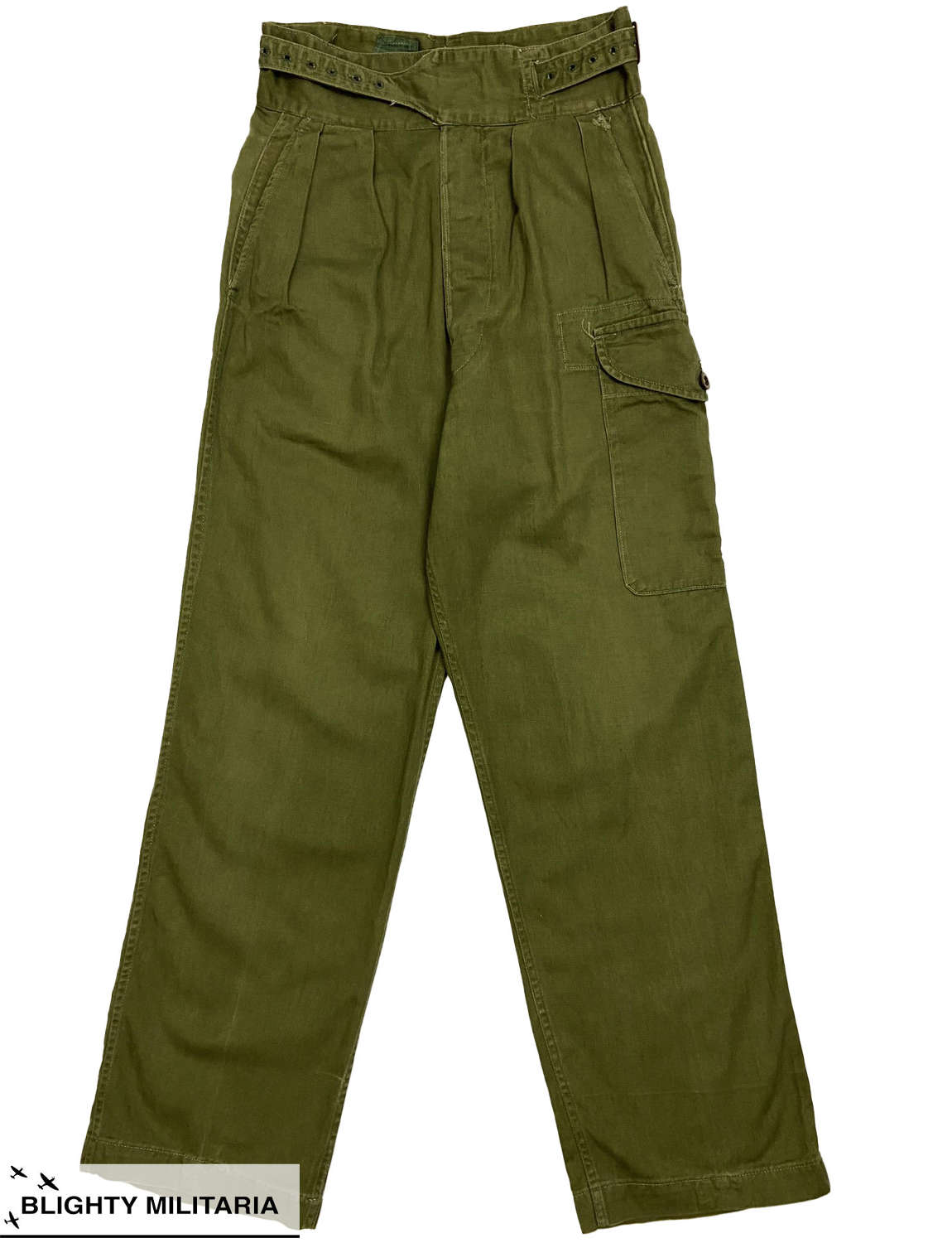 Original 1955 Dated 1950 Pattern Drill Green Trousers - Size 5