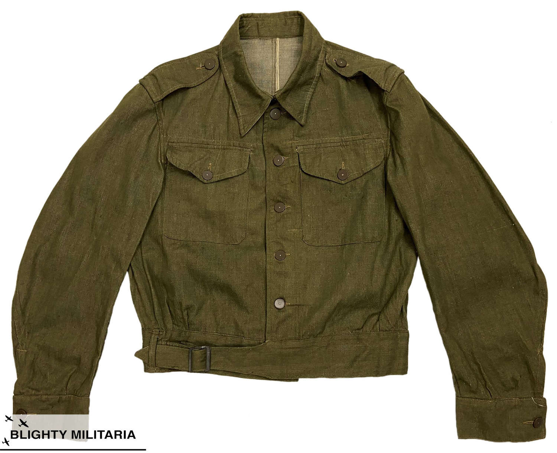 Stunning Original 1943 Dated British Denim Battledress Jacket - Size 9