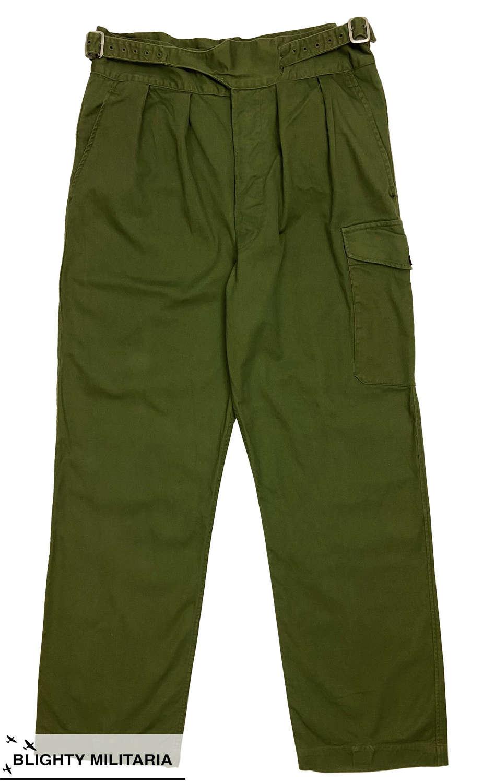 Original 1970s 1950 Pattern Jungle Green Trousers - Size 10