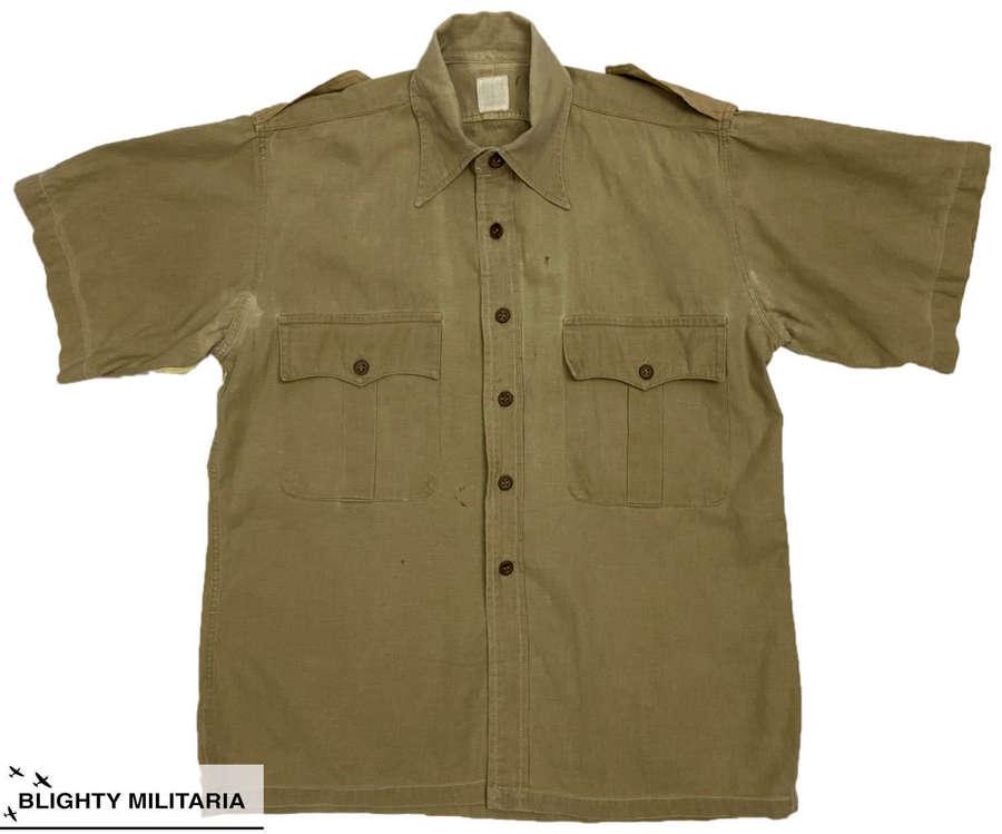 Original 1950s British Cellular Cotton Khaki Drill Shirt