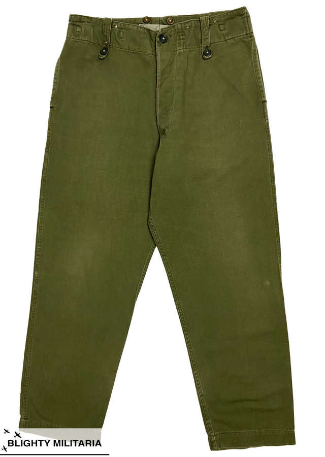 Original 1962 Dated British Army 'Trousers Overall, Green' - Size 3