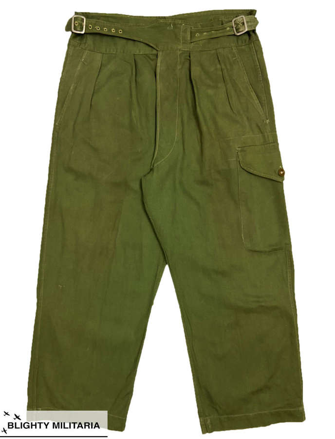 Original 1951 Dated Trousers, Drill Green - Size 12