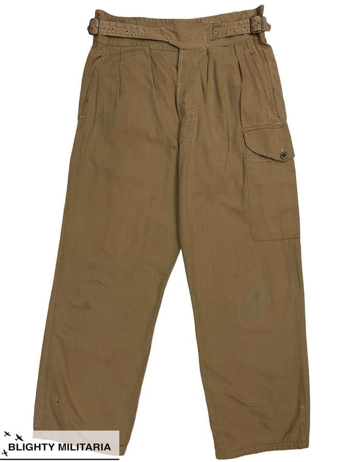 Original British Army 1950 Pattern Khaki Drill Trousers - Size 8