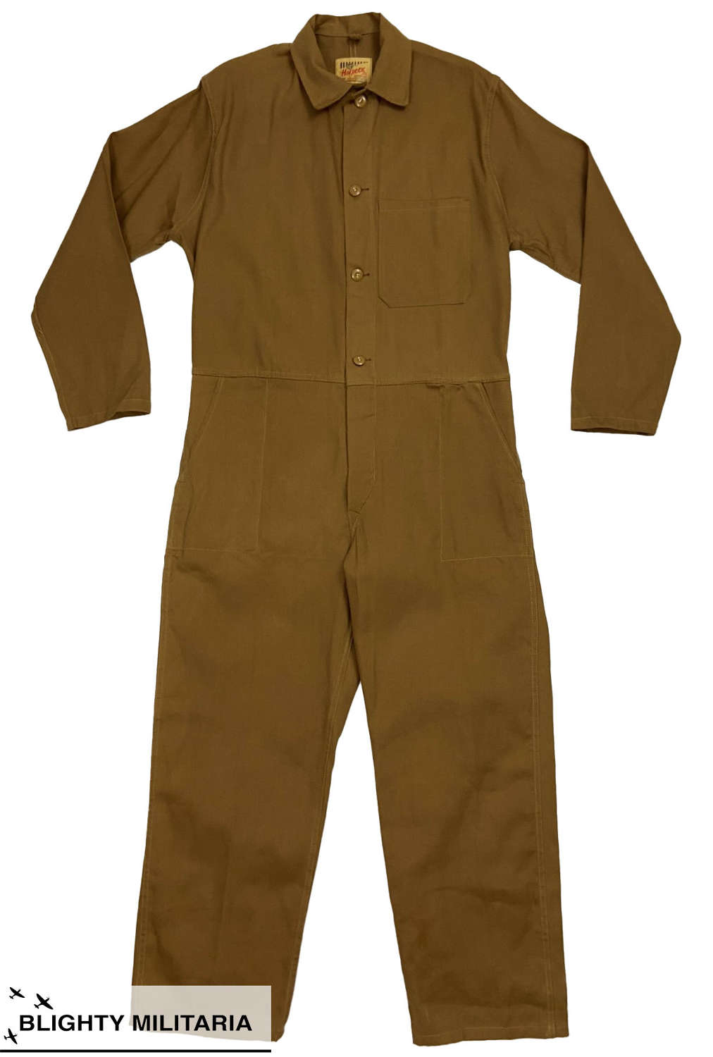 Original 1960s Tan Cotton Overalls by 'Harpoon' - Size 42
