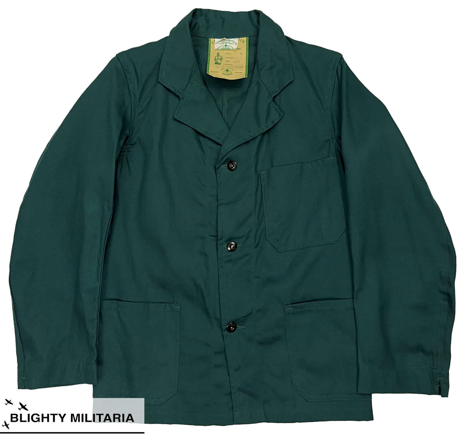 Incredible 1950s Teal Coloured Engineer Work Jacket - Size 40