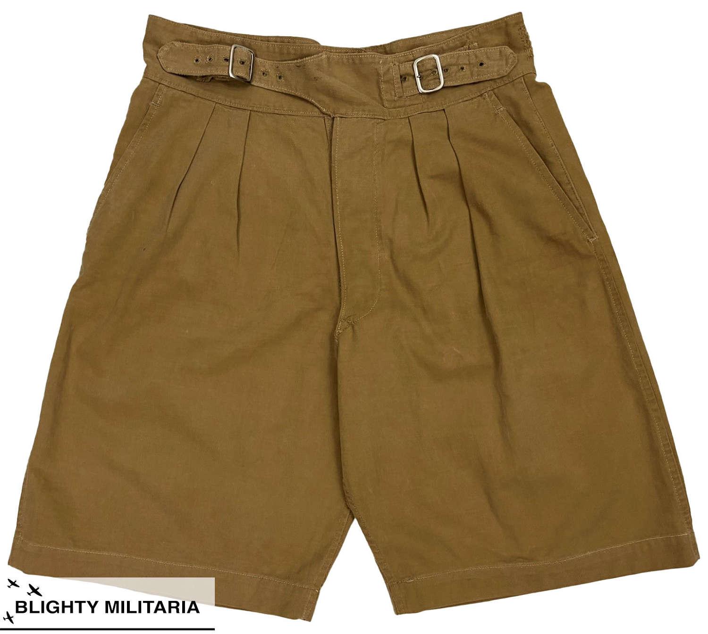 Original 1961 Dated British 1950 Pattern Khaki Drill Shorts - Size 12