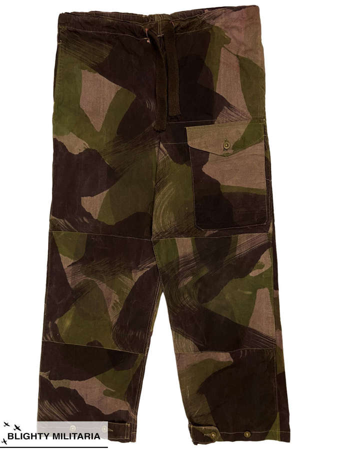 Original 1943 Dated British Army Camouflage Windproof Trousers Size 3