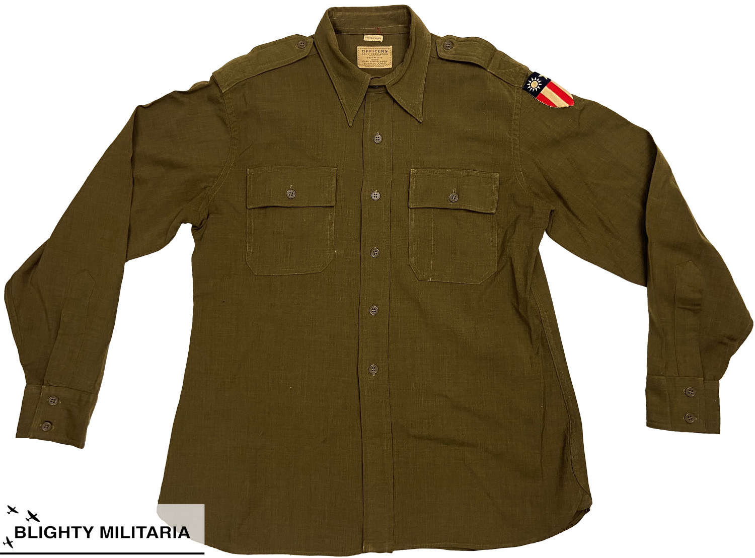 Original WW2 American Officers Shirt with C.B.I Patch