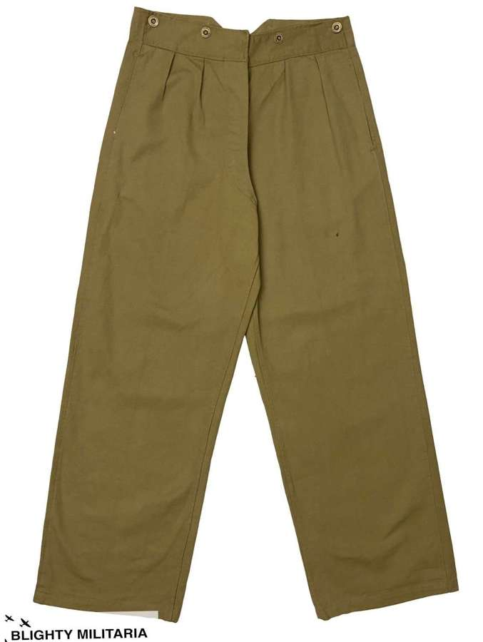 Original Early WW2 Indian Made British Army Khaki Drill Trousers