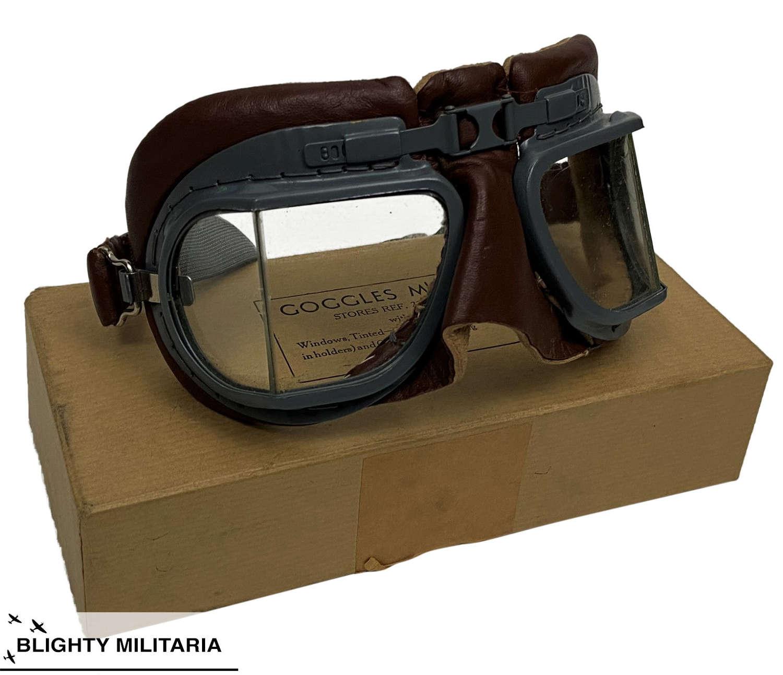 Original RAF MK VIII Flying Goggles + Box & Accessories