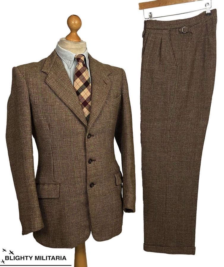 Stunning Original Early 1950s British Tweed Two Piece Suit